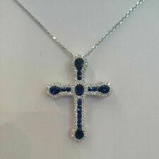 2.77 Ct Blue Sapphire & Diamond Cross Pendant Necklace 14k White Gold Finish