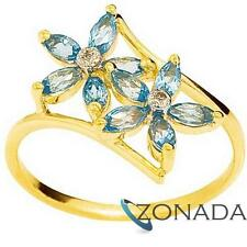 Flower Blue Topaz Diamond 9ct 9k Solid Yellow Gold Ring Size P 7.75 24737/BT