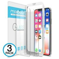 iPhone X Screen Protector, Maxboost (Clear, 3 Packs) Tempered Glass...