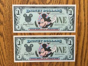 (2) in Sequential Order - 1987 D Series $1 Disney Dollars Mint, NM, Uncirculated