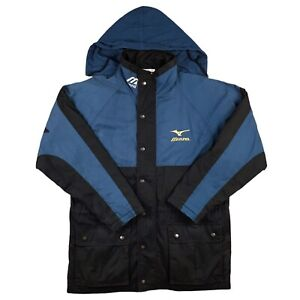 Mizuno Coat XL Oversized Spellout Vintage 90s Retro Football Blue Black UK