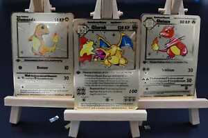 ⭐Pokemon 1 Edition Metall Gold Pokemon Karten Deutsch zb.Glurak/Bisaflor/Turtok⭐