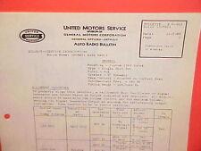 1939 BUICK ROADMASTER CENTURY SPECIAL UNITED MOTORS DELCO RADIO SERVICE MANUAL