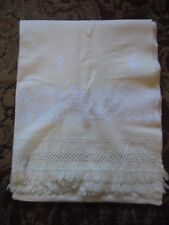 Vintage Wool Scarf Sash Wrap Shawl Cream w white embroidery Drawn work 65 x 26