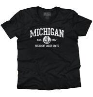 Michigan  Vintage State Graphic Retro Hometown  V-Neck T-Shirt