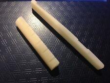 1xPr V/Cream Buffalo Bone Slotted Nut 43x6x9 & Saddle 72x9x3 for Acoustic Guitar