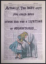Alice In Wonderland Aventuras citar Vintage Diccionario de impresión de arte de pared Imagen