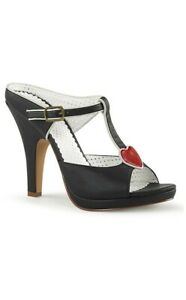 Lolita SIREN BLACK FAUX LEATHER HEART VEGAN HEELS PIN UP COUTURE SIZE 8