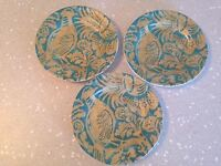 222 FIFTH BELORADO TEAL GOLD BIRD FLORAL APPETIZER BREAD PLATES Set of 3 EUC!