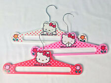 Hello Kitty Wood Clothes Coat Hangers Red Pink White Lot Sanrio 2012 EUC 11.5 In