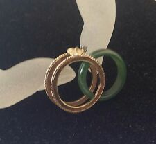 14K Solid Insert Accents Diamond set a Natural Green Jade Band Detachable Size 5