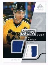 2008-09 SP GAME-USED DUAL AUTHENTIC FABRICS JERSEY #AF-BQ RAY BOURQUE !!