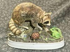 Vintage Josef Originals Raccoon w/ Frog & Turtle Figurine *Beautiful*