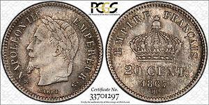 FRANCE 20 CENTIMES 1867-BB (PCGS MS64) *PREMIUM QUALITY*