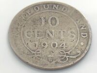 1904 H Canada Newfoundland 10 Ten Cent Dime Circulated Canadian Coin I912