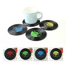 4pcs Vintage Vinyl Record CD Coasters Groovy Disk Table Bar Drinks Cup Mats Pad