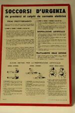 Targa tabella cartello soccorso persone colpite da scossa elettrica anni 60