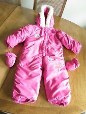 Baby Club Pink SnowSuit 1-Pc Outfit 12-18 mo Hood Faux Fur Trim & Mittens Warm