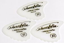 Guitar Pick 3 x White Sharkfin Landstrom Plectrum / Pick with Gold Lettering