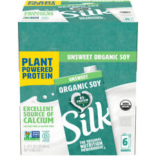 Pack of 6 Silk Unsweetened Organic Soymilk Non-Dairy Vegan Plant-Based 32 fl oz