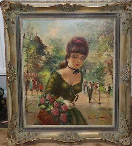 Gemälde ,Dame mir Blumen