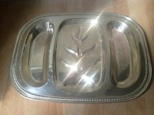 Vintage ENGLISH SILVER MFG Divided Meat Platter Serving Tray 18.5""