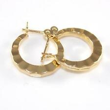 Solid 14K Yellow Gold Small Ribbed Circle Hoop Earrings A1