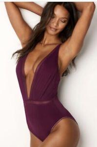 Victoria's Secret Mesh Plunge Bodysuit Small Merlot