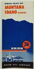 Union Oil 76 Road Map of Montana-Idaho-Wyoming c1955 Rand McNally a13a