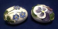Eggs Floral Purple/Blue Ceramic 3D, Hand Painted Germany, Artist Signed (TWO)