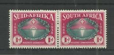 SOUTH AFRICA 1939 HUGUENOT LANDING 1d PAIR GREEN & CARMINE SG,83 M/M LOT 6308A