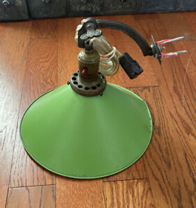 Vintage MCM Adjustable Wall Mount Bracket Cone Metal Light Fixture Green
