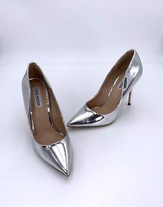 Steve Madded Daisie Silver Metallic PU High Heels UK 6 EUR 39 Pointed Court Shoe