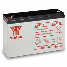 YUASA NP10-6 6V 10Ah F1 Sealed Lead Acid Rechargeable SLA Industrial Battery