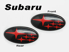 Front & Rear Glossy Black Insert Badge Emblem For 2011-Up Subaru Impreza WRX STI