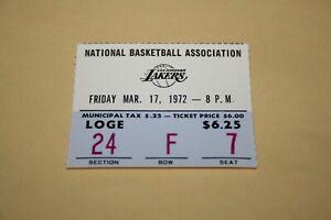 1972 Los Angeles Lakers TICKET STUB vs Bucks * Kareem Abdul-Jabbar 50 points