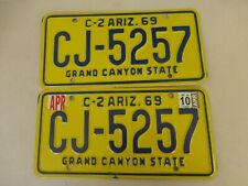 Arizona License plate matched set great condition CJ-5257 A3