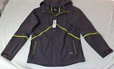 NWT- Quiksilver L/S Gray W/ Green Zipper Front Hooded Rain Gear     M     K#9790