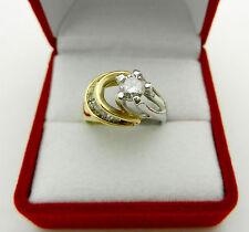 "Estate 18k Two Tone Gold Natural 0.75ctw Diamond Engagement Ring ""Sun & Moon"""