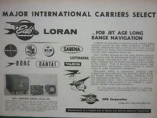 1959 PUB EDO AIRBORNE LORAN 345 AIRLINES PANAM QANTAS CUBANA VARIG KLM BOAC AD