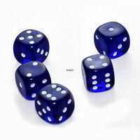 100 Stück 15mm Transparent Blau Knobel Würfel / Augen Würfel Frobis Spielwürfel