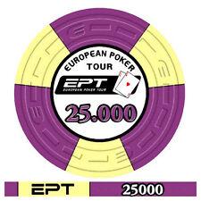 Blister da 25 fiches poker EPT Replica 2007 Ceramica Valore 25000 Bordo Allineat