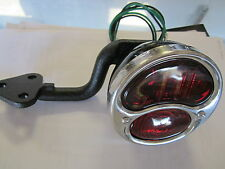 STOP LIGHT ASSEMBLY WITH GLASS LENS AND METAL BRACKETS VINTAGE TRAILER TEARDROP