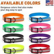 Dogline Biothane Reflective Waterproof Dog Collar Strong Coated Nylon Webbing