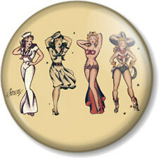 Sailor Jerry Design Pin Up Girls 25mm Pin Button Badge Tattoo Retro Kitsch Rum