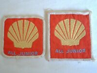 Shell All Junior Retro Cloth Badges Patches x 2 Never Used