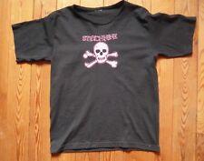 T- Shirt schwarz Strychnine ScullTotenkopf pink von B&C Gr. S