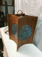 Vtg DANISH MODERN Blue Light MID-CENTURY Teak Wood 16in Swag LAMP