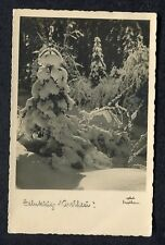 Posted 1934 from Holland Christmas Greetings Card: Snow Covered Trees