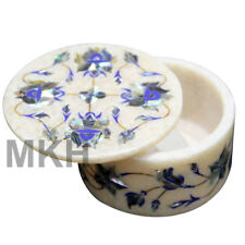 Marble Jewellery Box Inlay Gem Stones Trinket Jewelry Boxes Vintage Marquetry